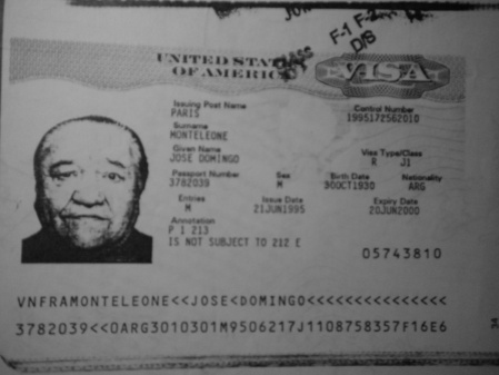 Pepito's work visa for the USA